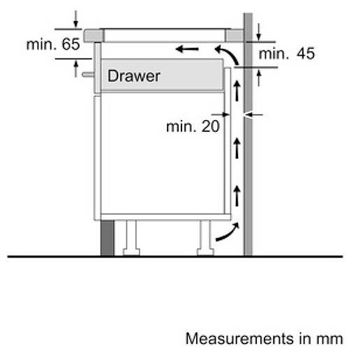 Khoảng cách từ mặt bếp tới ngăn tủ (nếu có ngăn tủ phía dưới)