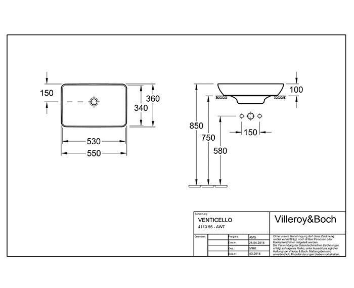 Bản vẽ lắp đặt bồn rửa mặt Villeroy & Boch Venticello 41135501